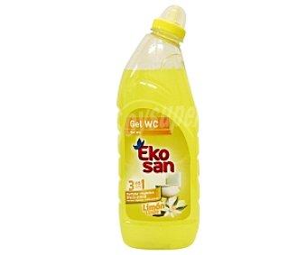 EKOSAN Gel WC Limón 3 en 1 (perfuma, Higieniza, Efecto Antical) 1 Litro