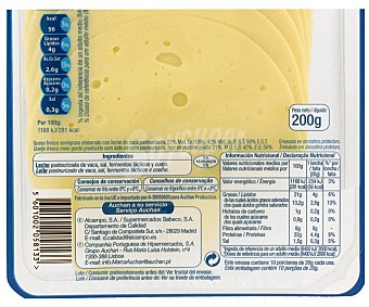 Auchan Queso Mozzarella en Lonchas Sobre de 200 Gramos