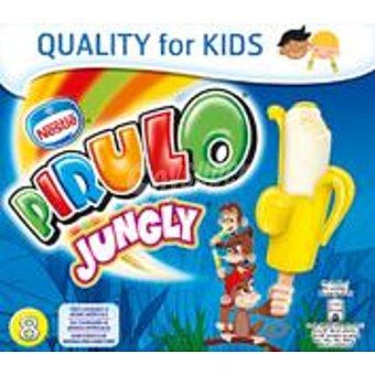 NESTLE PIRULO Jungly polo sabor vainilla con platano para pequeños bocados estuche 360 ml 8 unidades