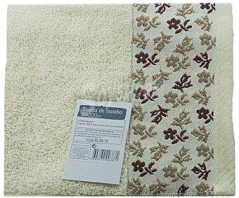 AUCHAN Toalla de algodón para lavabo, estampado jacquard color crema, 50 x100 centímetros 1 Unidad