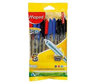Maped Lote de 10 bolígrafos de grip suave, tapa, punta media y tinta de colores azul, negra y roja 1 unidad