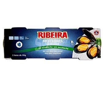 Ribeira Mejillones Rías Gallegas en Escabeche Pack3x80 gr