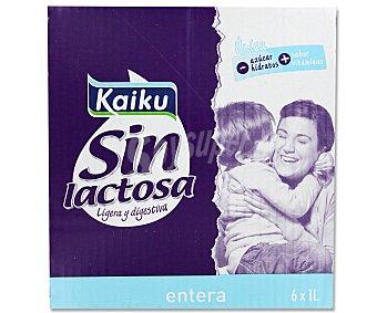 Kaiku Leche entera sin lactosa 6 Unidades de 1 Litro
