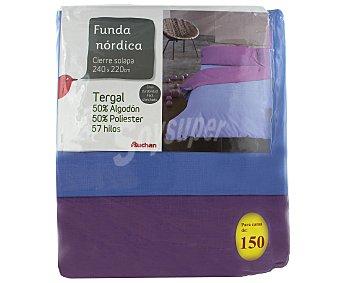 Auchan Funda para edredón nórdico de 150 centímetros, bicolor azul lavanda 1 Unidad