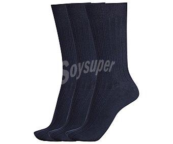 DON POSETS Pack de 3 pares de calcetines clásicos canale con puño antipresión, color marino, talla única Pack de 3
