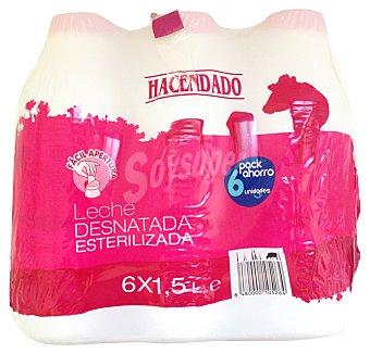 Hacendado Leche desnatada esterilizada Pack de 6 x 1,5 L- 9 L