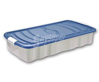 Mondex Bajo cama con ruedas, blanco transparente, tapa color azul, 80x40x15 centímetros 1 Unidad