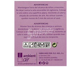 Ambient Air Vela de color lavanda en vaso de cristal, perfumada con olor a lavanda y con medidas de 7 x 8.5 x 7 centímetros 1 unidad