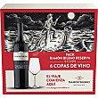 Vino tinto reserva doca Rioja Caja de vino 6 botellas 75 cl + 6 copas Ramón Bilbao