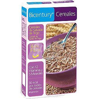 Bicentury Copos de salvado de trigo 44% fibra Cereales Paquete 375 g