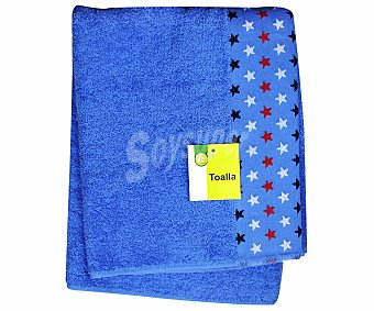 Productos Económicos Alcampo Toalla estampada jacquard de algodón, color azul, 70x140 centímetros 1 Unidad