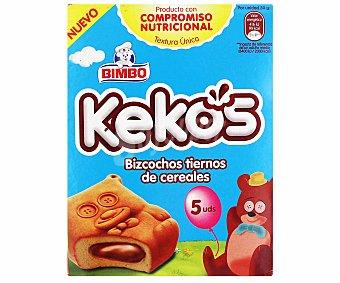 Bimbo Bizcochos tiernos de cereales con relleno de cacao Kekos 5 unidades (150 gramos)