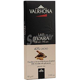 Valrhona Jivara chocolate con leche y nueces pecán Tableta 85 g