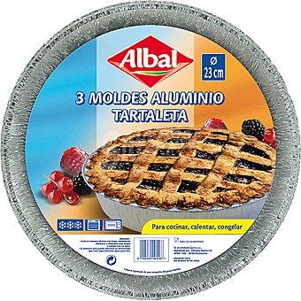 ALBAL Moldes de aluminio tartaleta 23 cm pequeño envase 3 unidades
