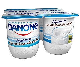 Danone Yogur natural azucarado con fermentos naturales y azúcar de caña 4 x 125 g