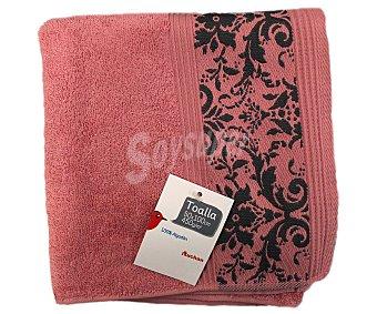 Auchan Toalla para lavabo, algodón color rosa, estampado jacquard, 450 gramos/m², 50x100 centímetros 1 Unidad