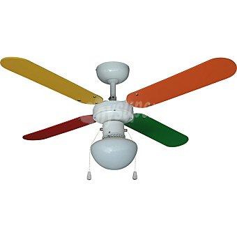 Ventilador de techo con 4 aspas multicolor