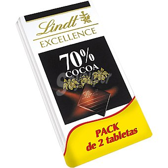 LINDT EXCELLENCE Chocolate negro 70 % cacao 2 tabletas de 100 g