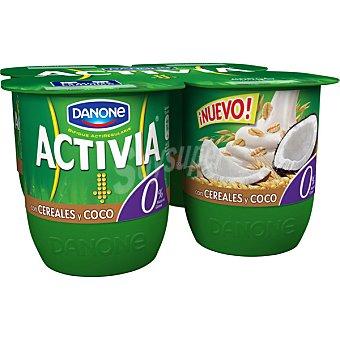 Activia Danone Yogur desnatado con cereales y coco 0% de materia grasa Pack 4 unds. 125 g