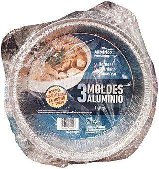 Aliberico Molde desechable aluminio redondo Paquete de 3 unidades