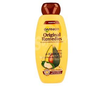 Garnier Champú antiencrespamiento con aceite de aguacate y manteca de karité para cabello rebelde y difícil de controlar (nutre y disciplina) 400 mililitros