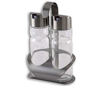 Monix Conjunto de vinagrera y aceitera Sabor, fabricada en vidrio con tapas de acero inoxidable monix