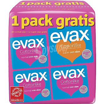 EVAX Cottonlike Compresa con alas normal pack 3 bolsa 16 unidades Pack 3 bolsa 16 unidades