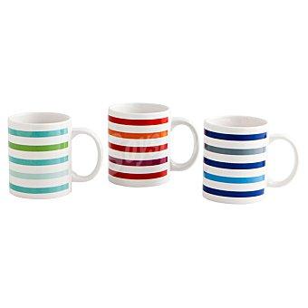 QUID Lines Mug de gres blanco a rayas en colores surtidos 33 cl