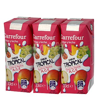 Carrefour Leche y frutas tropical 3 unidades de 33 cl