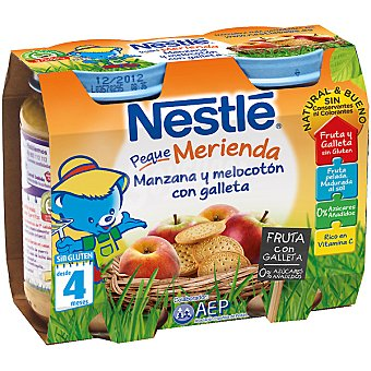 NESTLE PEQUE MERIENDA Tarrito manzana y melocotón con galleta pack 2x200 g estuche 400 g Pack 2x200 g