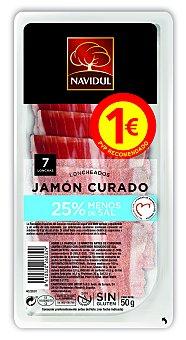 Navidul Jamón curado con un 25% menos de sal, sin gluten y sin lactosa y cortado en lonchas 50 g