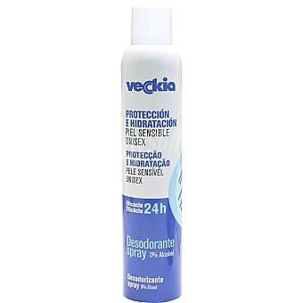 Veckia Desodorante unisex protección e hidratación eficacia 24h sin alcohol para piel Sensible Spray 200 ml