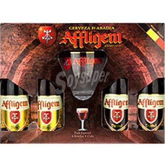 Affligem Cerveza Dubbel-Blond Pack 4x33 cl + Copa
