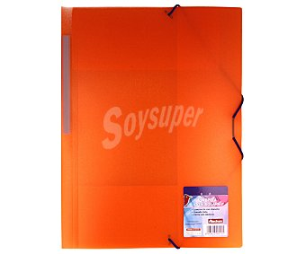 Auchan Carpeta de polipropileno transparente, de tamaño folio, con 3 solapas, cierre de gomas y lomo recto personalizable 1 unidad
