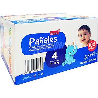 Aliada Pañales unisex de 9 a 15 kg talla 4 elásticos y transpirables  Caja 102 unidades