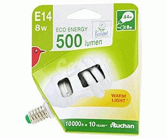 Auchan Bombilla bajo consumo espiral 8 Watios, casquillo E14 (fino), luz cálida 1 unidad
