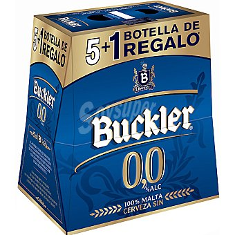 BUCKLER cerveza sin alcohol + 1 gratis pack 5 botellas 25 cl