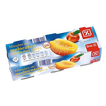 DIA Mitades de melocotón en almíbar Pack 3 latas 115 gr