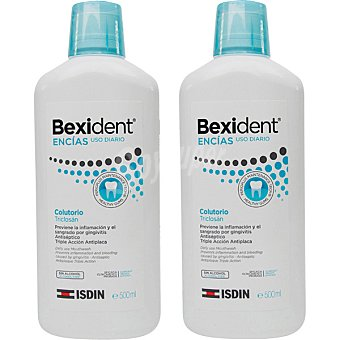 Bexident Encías colutorio con Triclosán sin alcohol de uso diario triple acción y antiplaca 1 pack 2x500 ml Pack 2x500 ml