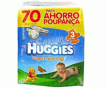 HUGGIES SUPERSECO Pañales Pack 1 Mes Talla 3 (4 a 10 Kilogramos) Pack 1 Mes