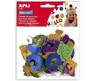 APPLI Bolsa de 52 letras adhesivas de goma eva con purpurina y de diferentes colores apli.