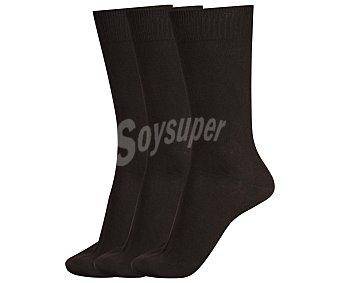 DON POSETS Pack de 3 pares de calcetines clásicos lisos con hilo antipresión, color marrón, talla única Pack de 3