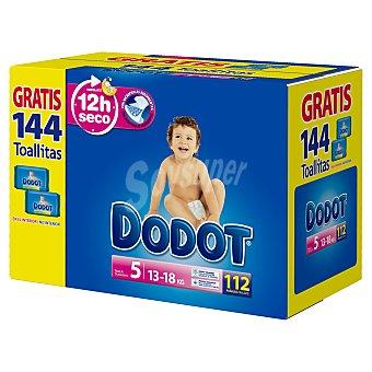 Dodot Pañales talla 5 para niños entre 13-18 kilogramos + toallitas 144 unidades 112 unidades + 144 toallitas