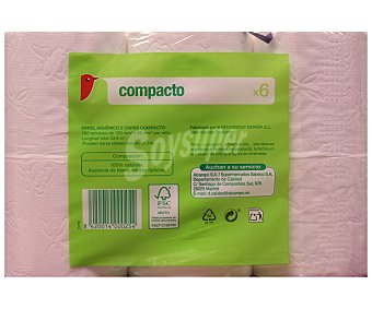 Auchan Papel higiénico compacto Paquete de 6 unidades