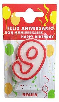 Roura Vela cumpleaños Nº 9 1 unidad