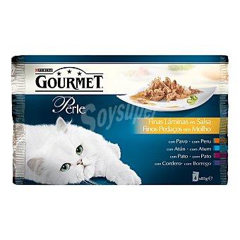 Gourmet Gourmet perle alimentación húmeda para gato con finas láminas en salsa 4 unidades Bolsa 85 g