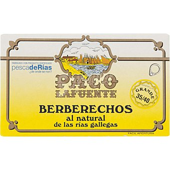 PACO Berberechos de las rias gallegas al natural lata 65 g neto escurrido 35-40 piezas Lata 65 g neto escurrido