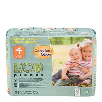 Carrefour Eco Planet Pañal T4 (7-18 kg.) 28 ud