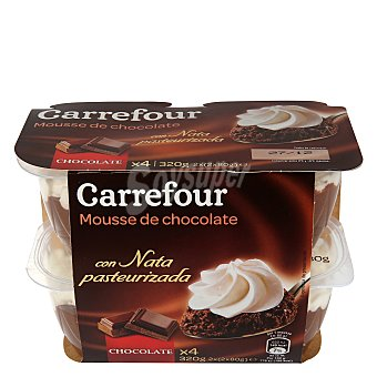 Carrefour Copa mousse chocolate con nata Pack 4x80 g