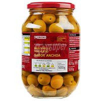 Eroski Aceitunas verdes sabor anchoa Frasco 500 g